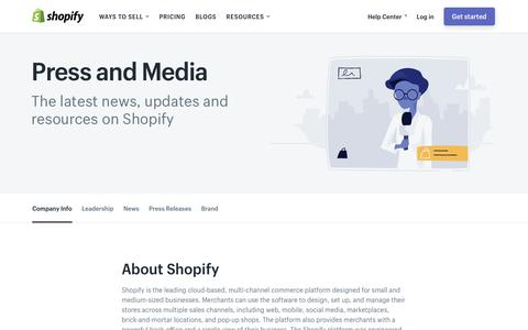 Screenshot of Press Page shopify.com - Shopify Press and Media - captured July 2, 2017
