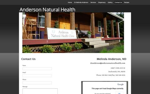 Screenshot of Contact Page andersonnaturalhealth.com - Anderson Natural Health - captured Oct. 3, 2018