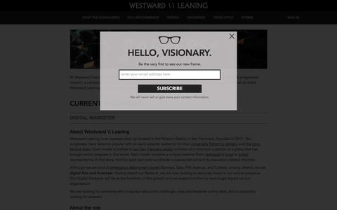 Screenshot of Jobs Page westwardleaning.com - Careers – WESTWARD \\ LEANING - captured Nov. 5, 2014