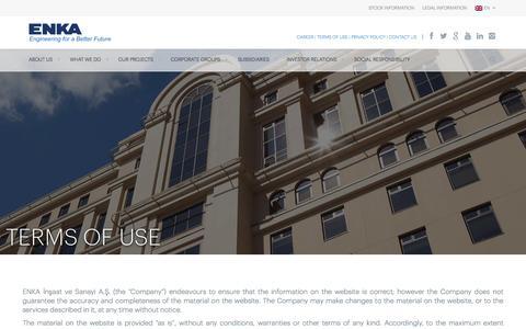 Screenshot of Terms Page enka.com - Terms of Use | ENKA İnşaat ve Sanayi A.Ş – Resmi Sitesi - captured Feb. 18, 2016