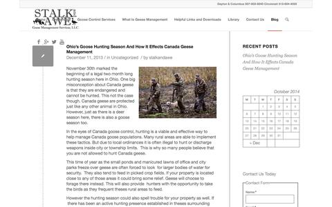 Screenshot of Blog stalkandawe.com - Blog | Ohio's Canada Goose Control & Management Profesionals - captured Oct. 6, 2014