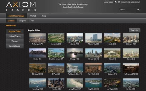 Screenshot of Locations Page axiomimages.com - Aerial Stock Footage Locations in HD, 4K and 5K Clips | Axiom Images - captured Dec. 27, 2015