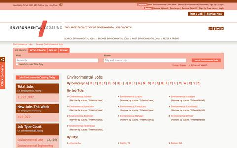 Screenshot of Jobs Page environmentalcrossing.com - Environmental Jobs, Browse Jobs in Environmental By Job Type, City, State in United States | EnvironmentalCrossing.com - captured Dec. 2, 2017