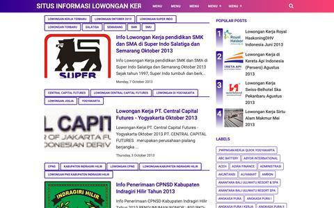Screenshot of Home Page satukarir.com - Situs Informasi Lowongan Kerja Terbaru 2018 & Lamaran Kerja Terbaru | Jobs in Indonesia - captured Nov. 28, 2018