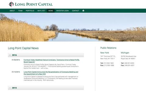 Screenshot of Press Page longpointcapital.com - News | Long Point Capital - captured July 17, 2016