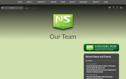 Screenshot of Team Page naturallysplendid.com - Our Team | Naturally Splendid, Inc. - captured Feb. 28, 2016