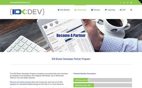 Screenshot of Developers Page idxbroker.com - Partnership – IDX Broker Developer - captured Oct. 22, 2017