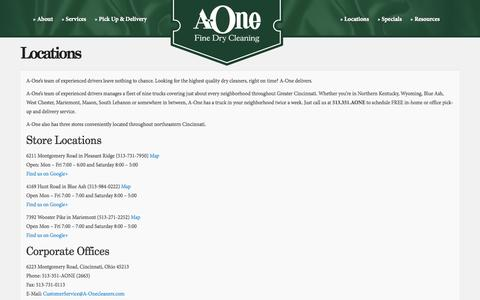 Screenshot of Locations Page a-onecleaners.com - Cincinnati Dry Cleaner | A-One Fine Dry Cleaning - captured Oct. 3, 2014