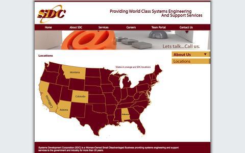 Screenshot of Locations Page sdchsv.com - SDC: Systems Development Corporation - captured Oct. 7, 2014