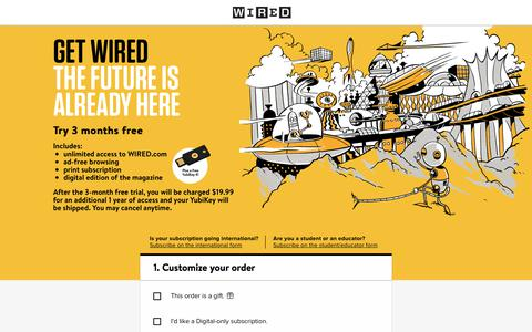 Screenshot of Landing Page wired.com - WIRED Magazine Subscription - captured Feb. 23, 2018