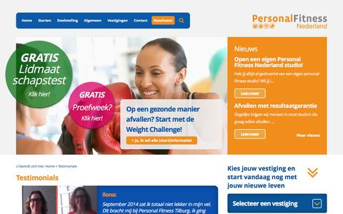 Screenshot of Testimonials Page personalfitnessnederland.nl - Personal Fitness Nederland - Testimonials - captured July 12, 2016