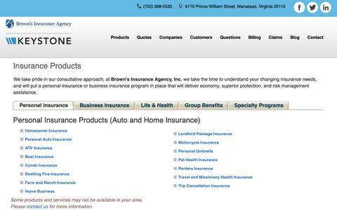 Screenshot of Products Page brownsinsurance.com - Insurance Products - Brown's Insurance Agency, Inc. - Manassas, Virginia 20110 - captured Oct. 6, 2018
