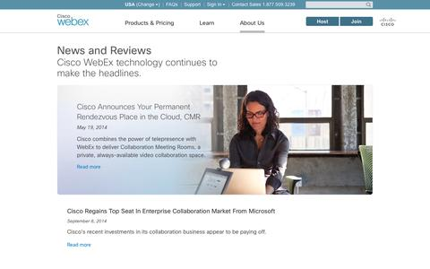 Screenshot of Press Page webex.com - Web Conferencing in the News, eLearning, Webinars, Remote Support: WebEx - captured Sept. 17, 2014