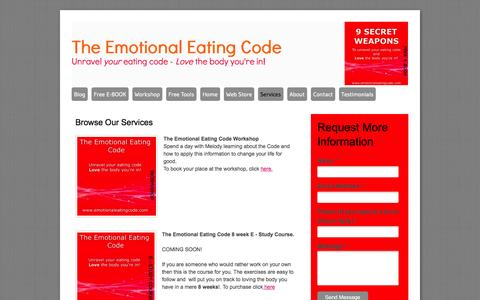 Screenshot of Services Page emotionaleatingcode.com - The Emotional Eating Code - Services - captured Oct. 26, 2014