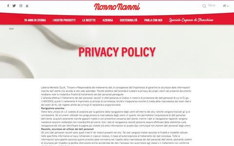 Screenshot of Privacy Page nonnonanni.it - Privacy Policy | Nonno Nanni - captured July 19, 2017