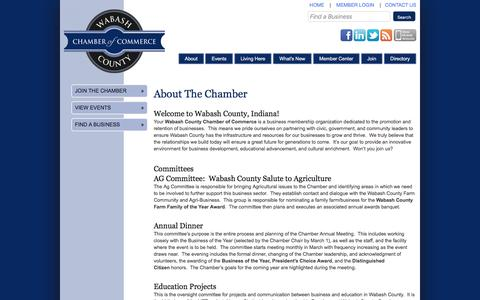 Screenshot of About Page wabashchamber.org - Wabash County Chamber of Commerce - About Us - captured Feb. 13, 2016