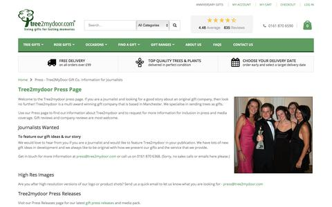 Screenshot of Press Page tree2mydoor.com - Press - Tree2MyDoor Gift Co. Information for Journalists - captured June 28, 2017