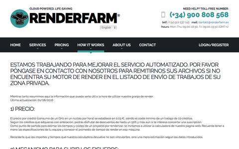 Screenshot of FAQ Page Support Page renderfarm.es - RENDERFARM®   how it works - captured Dec. 16, 2016