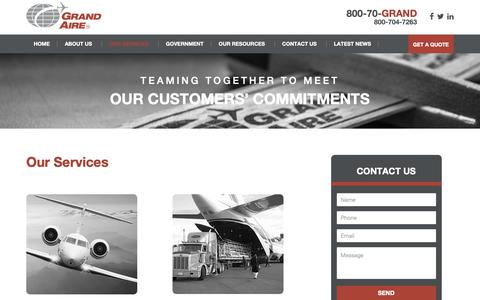 Screenshot of Services Page grandaire.com - Our Services | Grand Aire, Inc - captured Sept. 30, 2018