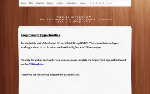 Screenshot of Jobs Page lumber-jack.com - Welcome to careers at LumberJack Building Centers - Lumber Jack Building Centers - captured Feb. 1, 2016