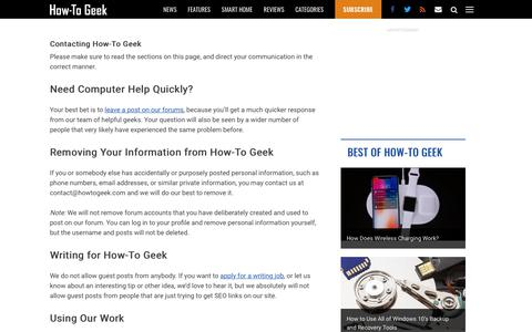 Screenshot of Contact Page howtogeek.com - Contacting How-To Geek - captured Sept. 16, 2018