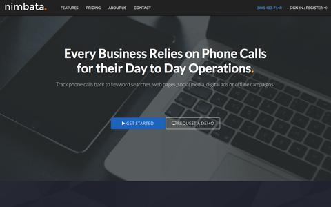 Screenshot of Home Page nimbata.com - Call Tracking and Phone Analytics for Online & Offline Marketing - captured Nov. 4, 2017