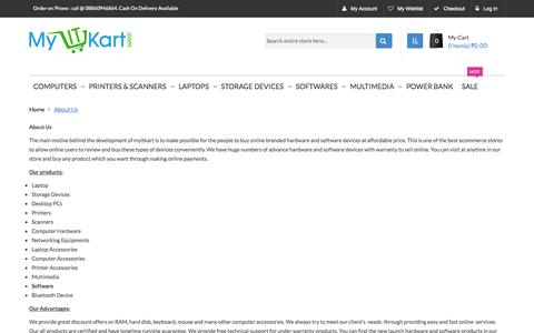 Screenshot of About Page myitkart.com - About Us - captured Sept. 30, 2014