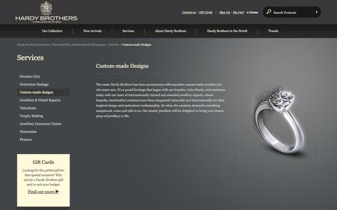 Screenshot of Services Page hardybrothers.com.au - Custom Made Jewellery Designs - Diamonds Engagement & Wedding Rings | Hardy Brothers Jewellers - captured May 9, 2016