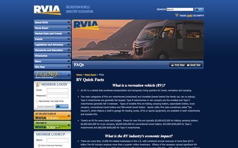 Screenshot of FAQ Page rvia.org - The Recreation Vehicle Industry Association: FAQs - captured Nov. 3, 2014