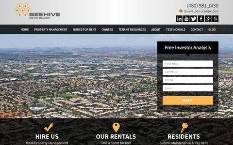 Screenshot of Home Page mesapropertymanagement.com - Mesa Property Management and Property Managers, Mesa Houses and Homes for Rent | Beehive Property Management - captured Nov. 22, 2016