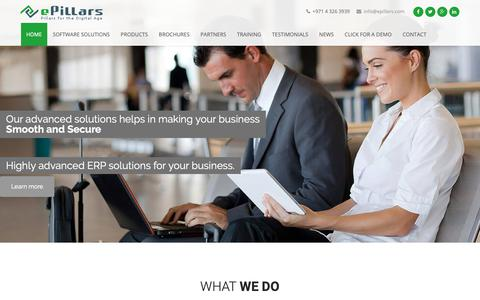 Screenshot of Home Page epillars.com - ePillars Systems IT service Company Dubai - IT Service , IT solution,Business Accounting Billing Software Provider in Dubai, Abu Dhabi, UAE - captured Sept. 30, 2018