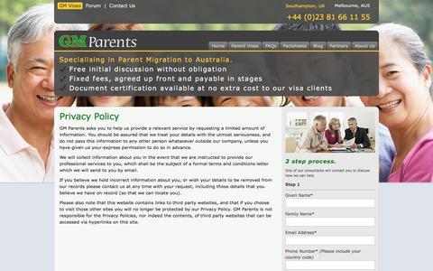Screenshot of Privacy Page gm-parent-visas.com - Privacy Policy | GM Parent Visas - captured Sept. 26, 2018