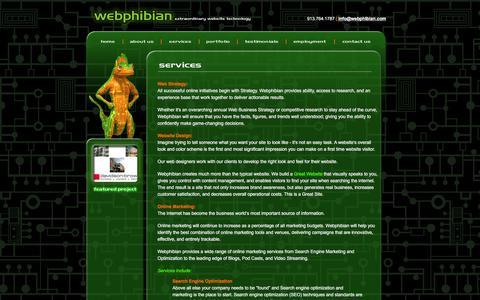 Screenshot of Services Page webphibian.com - webphibian :: extraordinary website technology - captured March 3, 2016