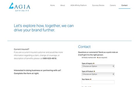 Screenshot of Contact Page agia.com - AGIA Affinity - Contact - agia - captured Nov. 5, 2019