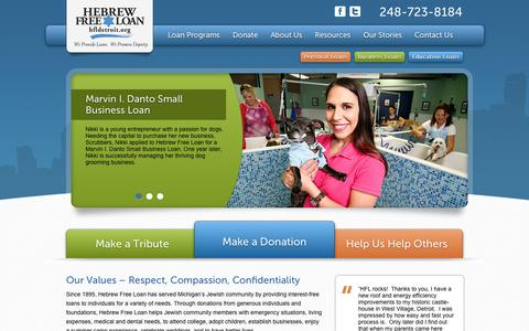 Screenshot of Home Page About Page Privacy Page Contact Page FAQ Page Site Map Page hfldetroit.org - Detroit Michigan Jewish Community Personal and Education Loans - captured Oct. 2, 2014