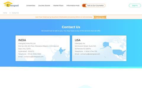 Screenshot of Contact Page ubergrad.com - Contact Us | Ubergrad - captured Oct. 9, 2017