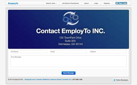 Screenshot of Contact Page employto.com - EmployTo helps hire graduates for free - captured Oct. 2, 2014