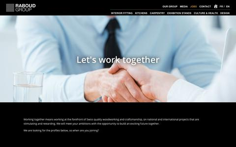 Screenshot of Jobs Page raboudgroup.com - Jobs furnishing Firbourg | Work layout Bulle - captured Oct. 18, 2018