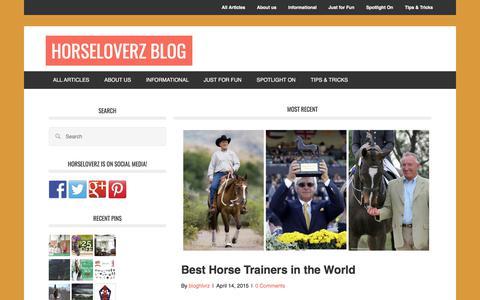 Screenshot of Blog horseloverz.com - Home - Horse Loverz Blog - captured July 8, 2017