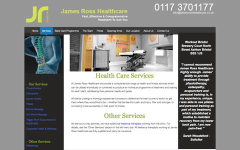 Screenshot of Services Page jamesrosshealthcare.co.uk - James Ross Rehab Clinic of Physiotherapy, Sports Massage & Acupuncture - captured Sept. 30, 2014