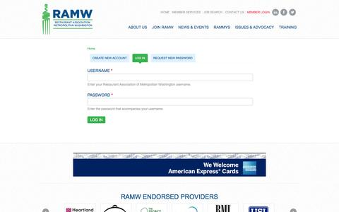 Screenshot of Login Page ramw.org - Home | Restaurant Association of Metropolitan Washington - captured Sept. 25, 2014