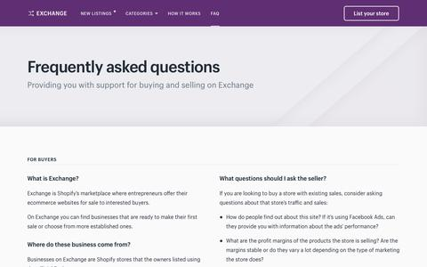 Screenshot of FAQ Page shopify.com - FAQ - Exchange - captured Nov. 12, 2017