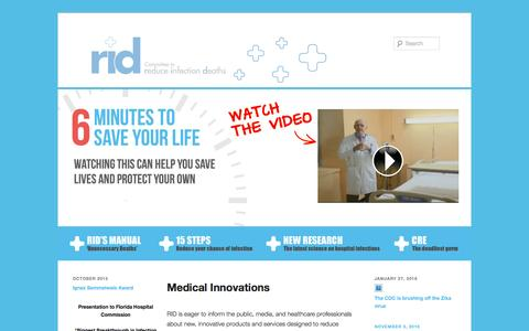Screenshot of Products Page hospitalinfection.org - Medical Innovations - Reduce Infection Deaths - captured Jan. 29, 2016