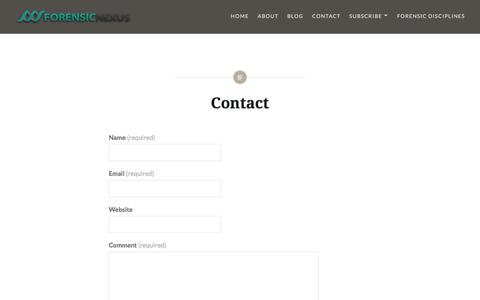 Screenshot of Contact Page forensicnexus.com - Contact - captured Aug. 19, 2018