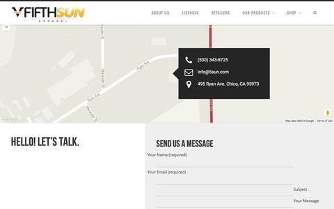 Screenshot of Contact Page 5sun.com - Contact | Fifth Sun - captured Feb. 10, 2016