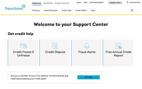 Screenshot of Contact Page Support Page transunion.com - Contact Us | TransUnion - captured Oct. 23, 2019