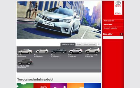 Screenshot of Home Page toyota.az - Toyota Azərbaycana xoş gəlmişsiniz. Toyota şirkəti və modelləri haqqında məlumat. - captured Sept. 24, 2014