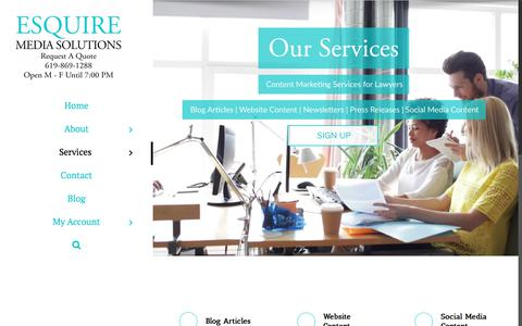 Screenshot of Services Page esquiremediasolutions.com - Services   Esquire Media Solutions - captured July 9, 2018