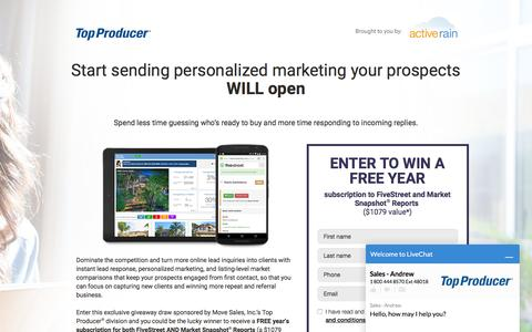 Screenshot of Landing Page topproducer.com - Top Producer® | Start sending personalized marketing your prospects WILL open - captured May 23, 2016