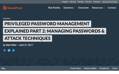Screenshot of Team Page beyondtrust.com - Privileged Password Management Explained Part 2: Managing Passwords & Attack Tec | BeyondTrust - captured Jan. 3, 2020
